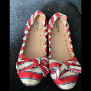 Miu Miu Fabric Striped ballet slipper size 40